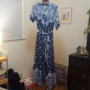 NWT Blue and White Wrap Dress